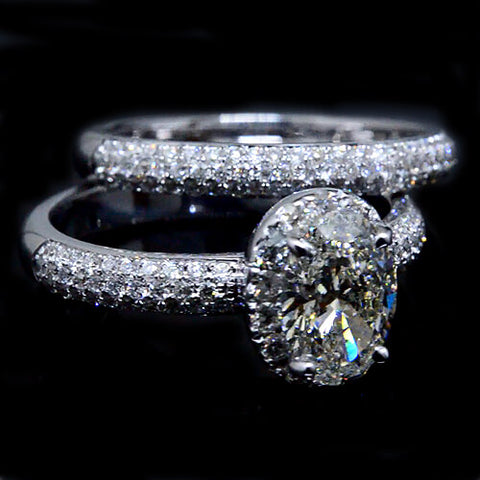 1.81 Ct. Oval Cut & Round Cut Diamond Bridal Set