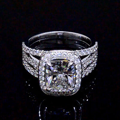 3.30 Ct. Halo Radiant Cut French & Micro Pave Diamond Engagement Ring GIA H, VS2
