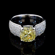 4.51 Ct. Cushion Cut Canary Yellow Diamond Ring