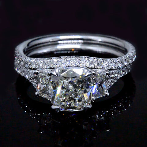 Three Stone Cushion & Trapezoid Diamond Micro Pave Ring Set