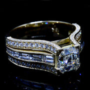 3.56 Ct. Asscher Cut Diamond Pave and Channel set Engagement Ring