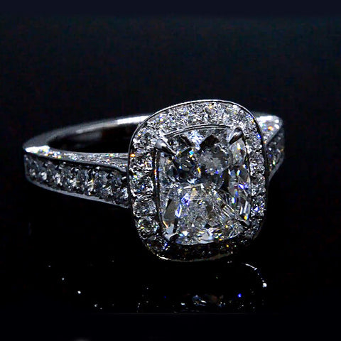 2.88 Ct. Cushion Cut Diamond Halo Engagement Ring
