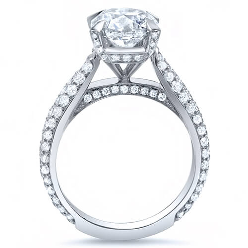 2.38 Ct. Cushion Cut w/ Round Cut Micro Pave Diamond Engagement Ring H,VVS2 GIA