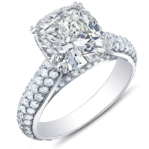 3.44 Ct. Cushion Cut w/ Round Cut Micro Pave Diamond Engagement Ring F,VVS2 GIA