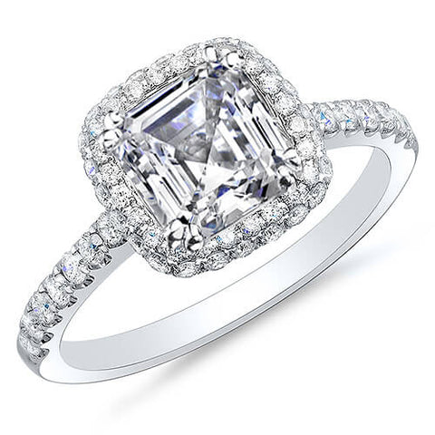 1.64 Ct. Asscher Cut Halo Micro Pave & U-Setting Diamond Engagement Ring F,VS2 GIA