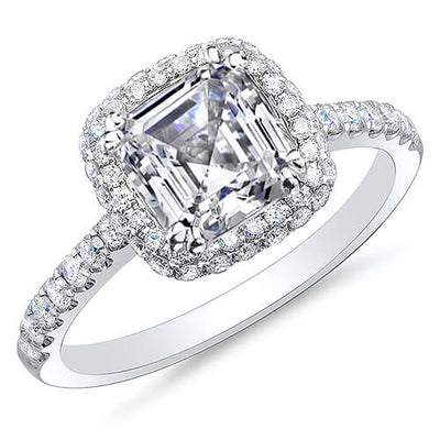 1.77 Ct. Asscher Cut Halo Micro Pave & U-Setting Diamond Engagement Ring H,VVS2 GIA