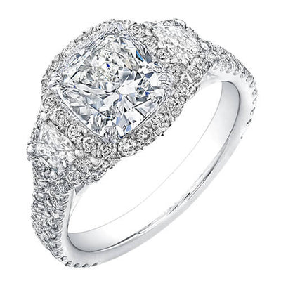 3.02 Ct. Halo Cushion & Trapezoid Diamond U-Setting Engagement Ring G,VS2 GIA