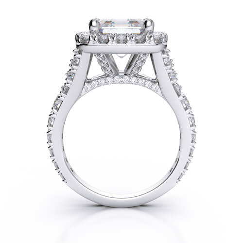 2.50 Ct. Halo Asscher Cut Split Shank Diamond Engagement Ring I,VVS2 GIA