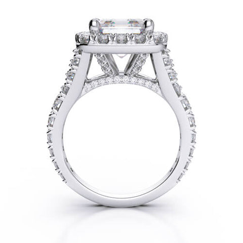 3.24 Ct. Halo Asscher Cut Split Shank Diamond Engagement Ring G,VS1 GIA