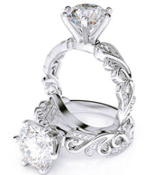 2.56 Ct. Round Brilliant Cut Filigree Design Diamond Engagement Ring G,SI1 GIA