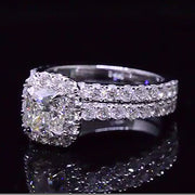 2.11 Ct. Cushion Cut Diamond Halo Engagement Bridal Set
