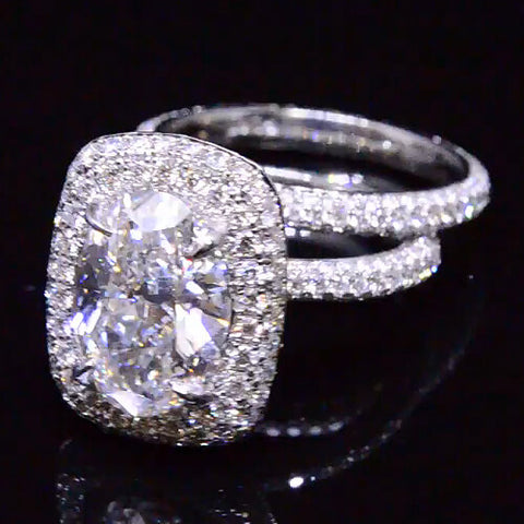 5.61 Ct. Oval Cut Diamond Halo Engagement Bridal Set GIA Platinum