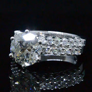 3.19 Ct. Round Brilliant Cut Diamond Engagement Ring Set GIA J,VS2