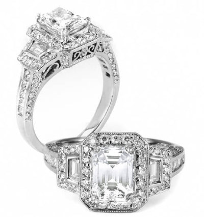 2.86 Ct. Emerald Cut Diamond Engagement Ring H,VVS1 GIA