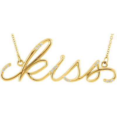 "Diamond ""Kiss"" Expression Pendant Necklace"