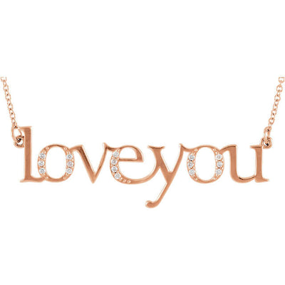 "Diamond ""Love You"" Expression Pendant Necklace"