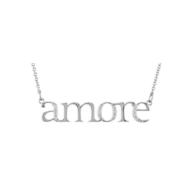 "Diamond ""Amore"" Expression Pendant Necklace"