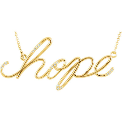 "Diamond ""Hope"" Expression Pendant Necklace"