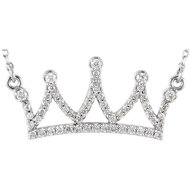 Diamond Petite Crown Expression Pendant Necklace