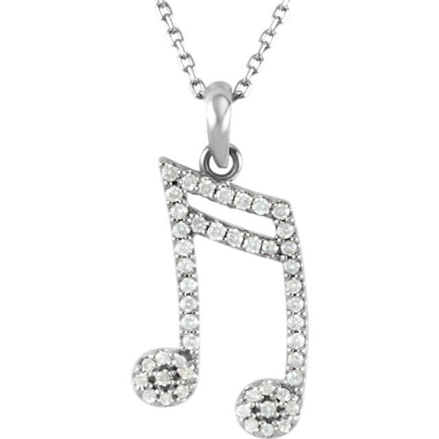 Diamond Double Sixteenth Note Expression Pendant Necklace
