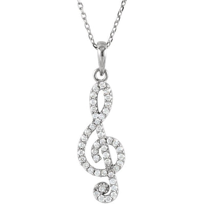 Diamond Petite Treble Clef Expression Pendant Necklace
