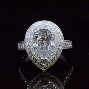 3.73 Ct. Pear Cut Dual Halo Diamond Engagement Ring