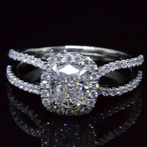 Cushion Cut Halo Round Cut Pave Diamond Engagement Ring