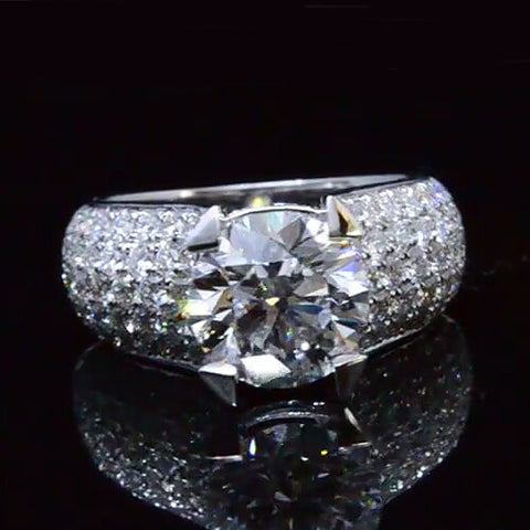 4.51 Ct. Round Cut Diamond Micro Pave Engagement Ring