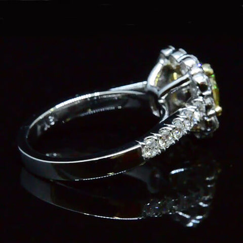 2.66 Ct. Halo Cushion Cut Canary Diamond Engagement Ring GIA