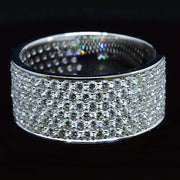 8mm Men's Diamond Ring w Pave Round Cut Diamonds 4.50 Ct.