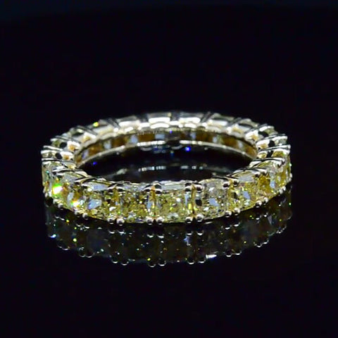3.00 Ct. Cushion Cut Canary Diamond Eternity Ring