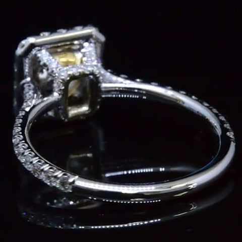 2.71 Ct. Cushion Cut Fancy Yellow Diamond Engagement Ring GIA