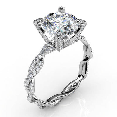 2.26 Ct. Round Brilliant Cut Diamond Infinity Engagement Ring Micro Pave H,VS1 GIA