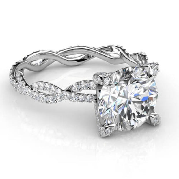 3.67 Ct. Round Brilliant Cut Diamond Infinity Engagement Ring Micro Pave G,SI1 GIA