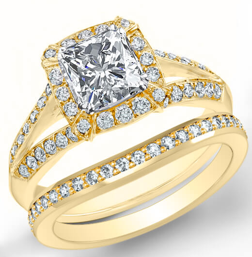 2.30 Ct. Halo Radiant Cut Diamond Split Shank Pave Engagement Ring Set G,VVS1 GIA