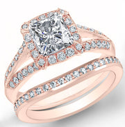 3.21 Ct. Halo Radiant Cut Diamond Split Shank Pave Engagement Ring Set H, IF GIA