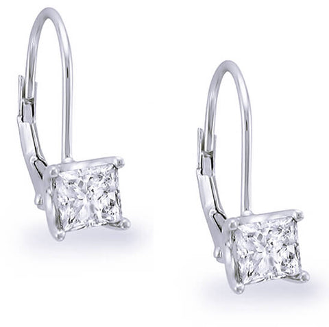 0.80 ct. Lever Back Princess Cut Diamond Earrings