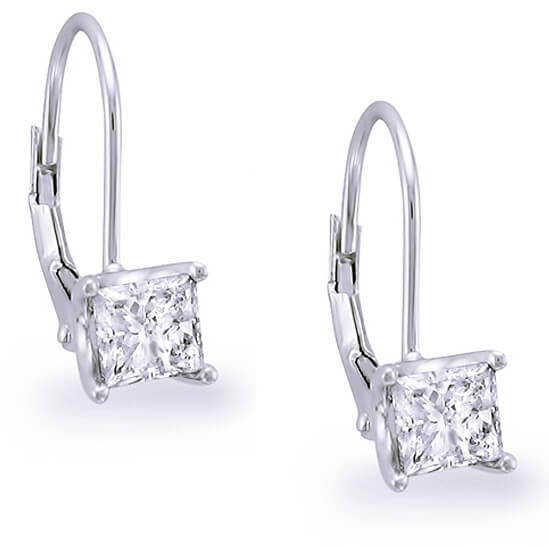 1.00 ct. Lever Back Princess Cut Diamond Earrings