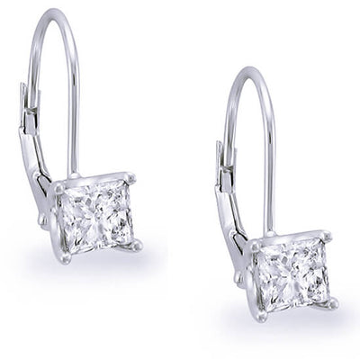 1.50 ct. Lever Back Princess Cut Diamond Earrings