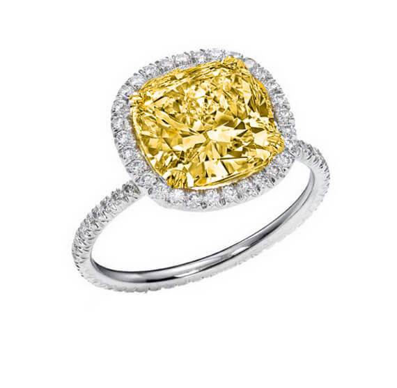 2.13 Ct. Halo Canary Cushion Cut Eternity Diamond Engagement Ring Fancy Light Yellow,SI2 GIA