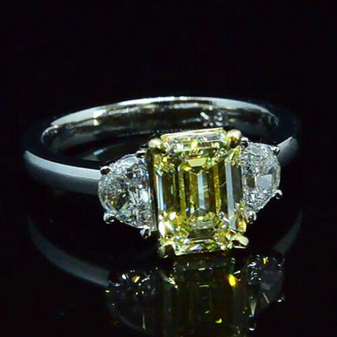 2.73 Ct. Emerald Canary Fancy Light Yellow Three Stone Diamond Engagement Ring GIA