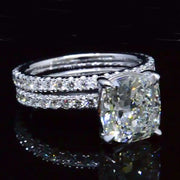 3.50 Ct. Cushion Cut Diamond Eternity Engagement Ring and Matching Band F,VS2 GIA