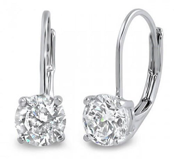0.80 ct. Lever Back Round Cut Diamond Earrings