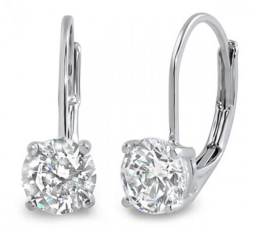 1.00 ct. Lever Back Round Cut Diamond Earrings