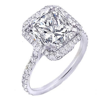 2.09 Ct. U-Setting Princess Cut Halo Diamond Engagement Ring E,VVS2 GIA