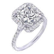 2.11 Ct. U-Setting Princess Cut Halo Diamond Engagement Ring F,VS1 GIA