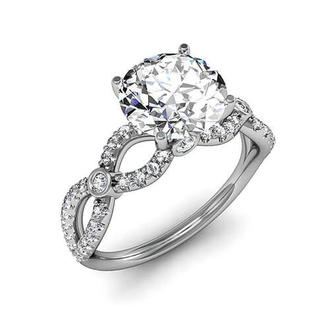 2.91 Ct. Round Brilliant Cut Diamond Twist Shank Design Engagement Ring G,SI1 GIA