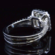 4.25 Ct. Cushion Cut Halo Pave Diamond Engagement Ring