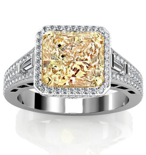 4.31 Ct. Canary Fancy Yellow Radiant Cut & Baguette Diamond Engagement Ring SI1 GIA