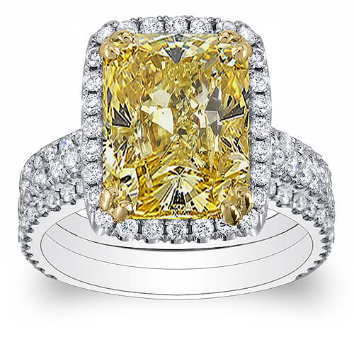 4.36 Ct. Canary Fancy Yellow Radiant Cut Diamond Engagement Ring SI1 GIA